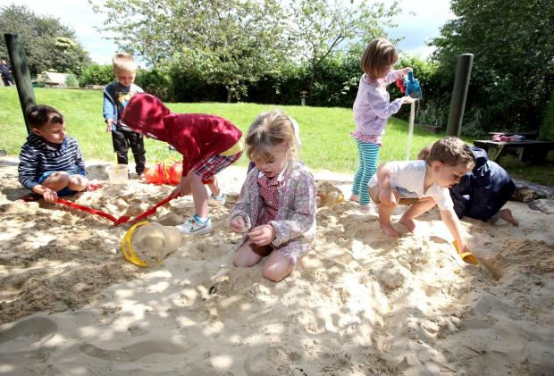 The Advertiser Series: PLAY IT AGAIN: Nursery children from Wolsingham Primary School in part of a new outdoor sand pit play area.  Picture: CHRIS BOOTH