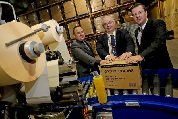 The Advertiser Series: MAYORAL VISIT: Mayor of Durham Councillor John Robinson with company directors James Buckle (left) and Andrew Tomlinson (right) during his visit to the award winning kitchenware suppliers premises in Bowburn. Picture: DAVID WOOD (7747681)
