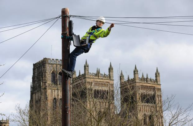 The Advertiser Series: DIGITAL DURHAM: Openreach engineer Kieran Byrne works on the connections at Durham