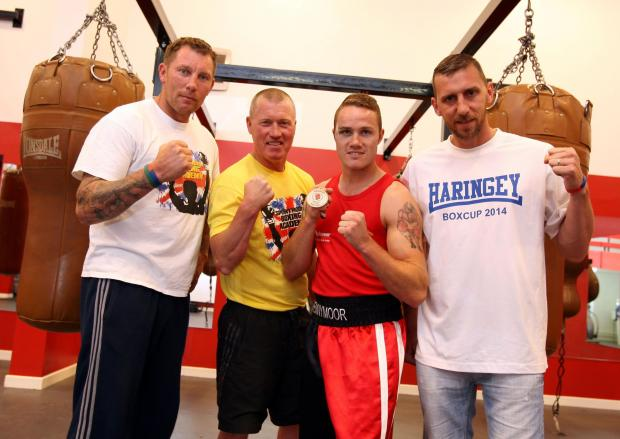 The Advertiser Series: CHAMPION BOXER: Spennymoor's Adam Watson has won gold in The Haringey Police and Community Boxing Tournament, pictured with coaches Michael Thompson, Robbie Ellis and Stuart McCrone. Picture: TOM BANKS