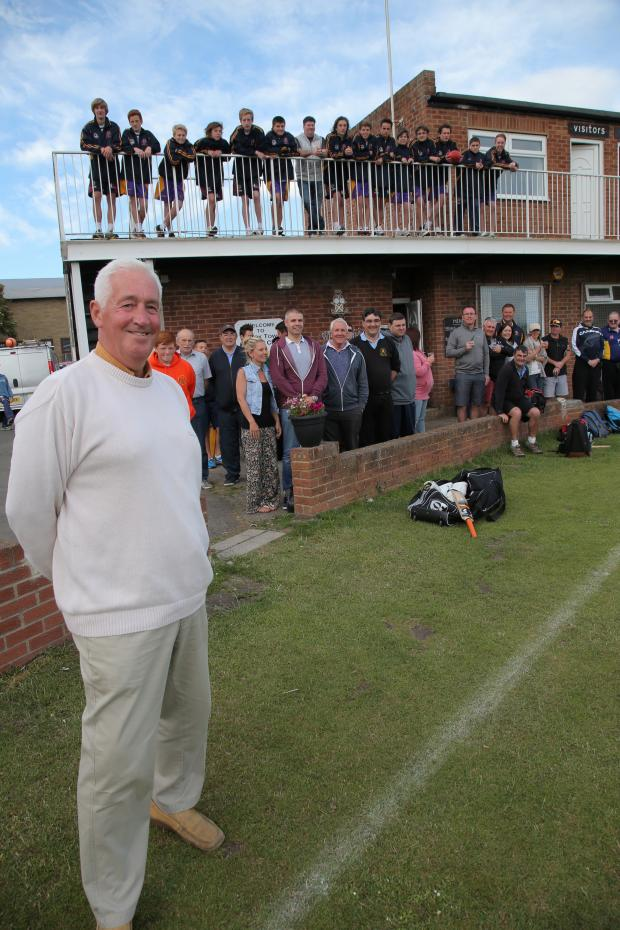 The Advertiser Series: JOB DONE: David Nevins at Crook Cricket Club where they are celebrating a year of fighting back from the brink of closure. Behind him are volunteers who helped in the effort.     Picture: ANDY LAMB