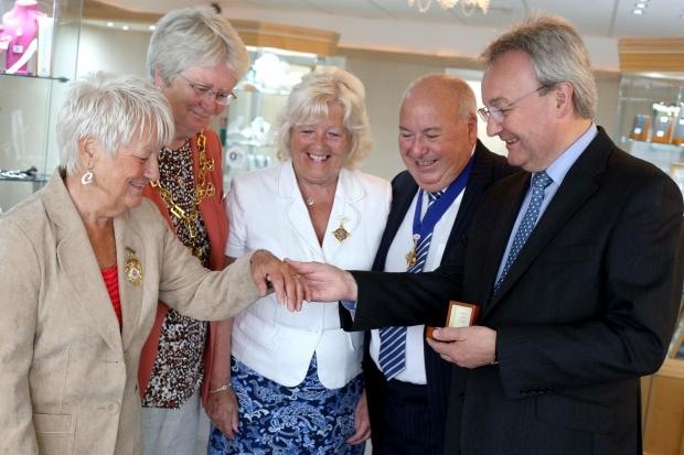 The Advertiser Series: DAZZLING DIAMOND: Betty Prest, winner of a diamond from the outgoing mayor of Darlington's thank you reception shows the precious stone off after having it set in a ring at Asquith's Jewellers in Post House Wynde, Darlington