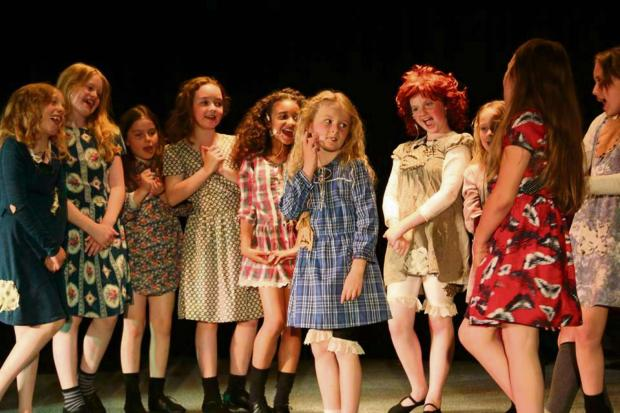 The Advertiser Series: STAGE SET: Children in dress rehearsals for I Love You Miss Hannigan routine from Annie. Left to right: Sara Allen, Chloe Johnson, Natalie Mannion, Isla Cowan, Kierra Smith, Jessica Smith, Sophie Robinson, Kiera Scotte