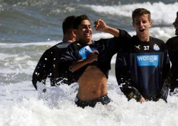 The Advertiser Series: On the beach: New signing Ayoze Perez takes a dip in the North Sea