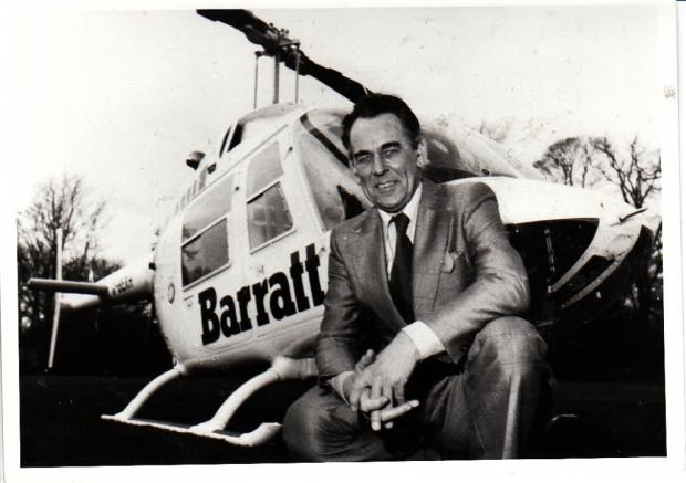 The Advertiser Series: COMPANY FOUNDER: Sir Lawrie Barratt, founder of Barratt Developments, previously pictured with the company's promotional helicopter