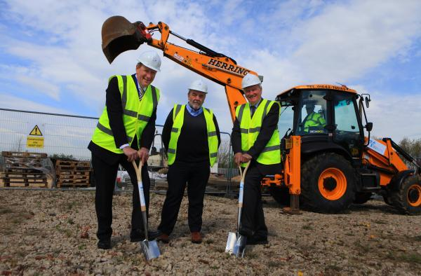 The Advertiser Series: NEW WORK: The previous sod-cutting ceremony at the £38m biologics research centre in Darlington. Pictured from left to right are Steve Bagshaw, chief executive of Fujifilm Diosynth, Councillor Bill Dixon, and Sandy Anderson OBE, TVU chairman