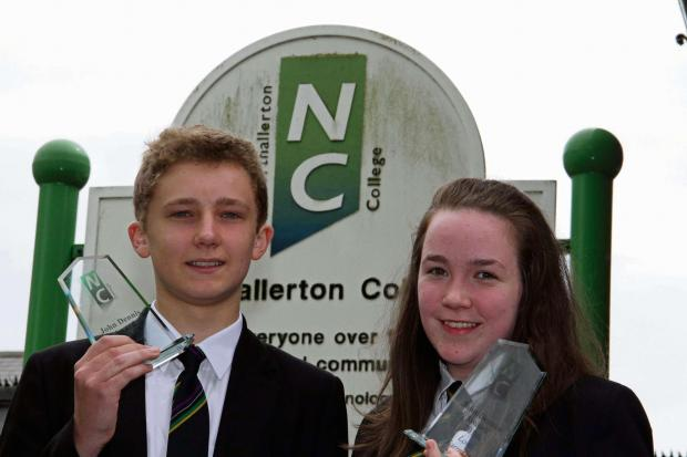 The Advertiser Series: TOP TEENS: Students James Martin and Lois Farndale with their awards.