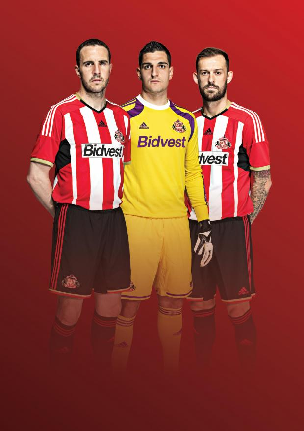 The Advertiser Series: Kitted out: Sunderland players John O'Shea, Vito Mannone and Steven Fletcher parade the team's home strip for next season