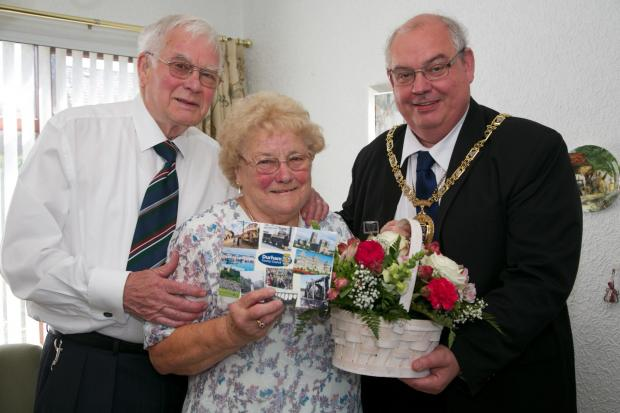 The Advertiser Series: DIAMOND CELEBRATION: Keith and Nancy Wells from Sedgefield, with Councillor John Robinson, chairman of Durham County Council. Picture: Keith Taylor