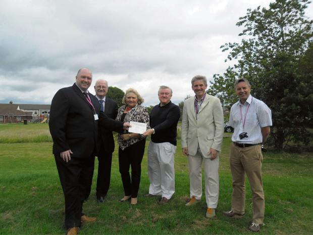 The Advertiser Series: GYM GRANT:  (L to R) Malcolm Gray, community investment advisor for livin,Councillor Morris Nicholls, Councillor Lucy Hovvels, Dr Alan Bell, treasurer of Trimdon Colliery Community Association, Councillor Peter Brookes and Paul Todd, community coordinator
