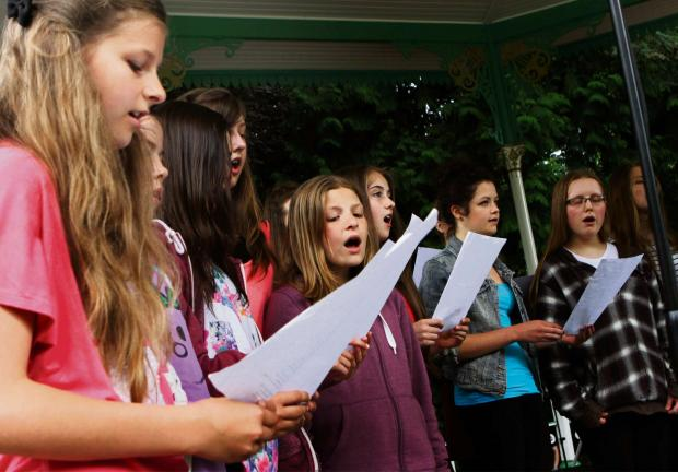 The Advertiser Series: BIG BAND: Members of Darlington Youth Choir and Hurworth School Choir perform at The Big Gig in South Park Darlington. Picture:SARAH CALDECOTT (8161854)