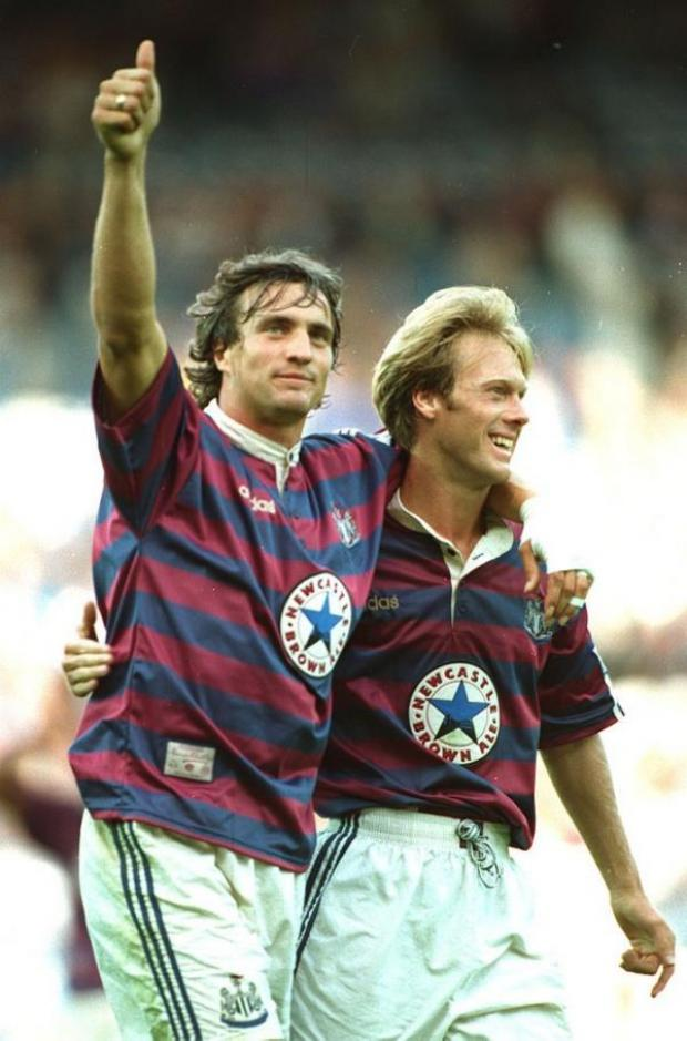 The Advertiser Series: FROG ON THE TYNE: Newcastle supporters had a crowd hero in Frenchman David Ginola, left, pictured celebrating a goal at Sheffield Wednesday with Warron Barton
