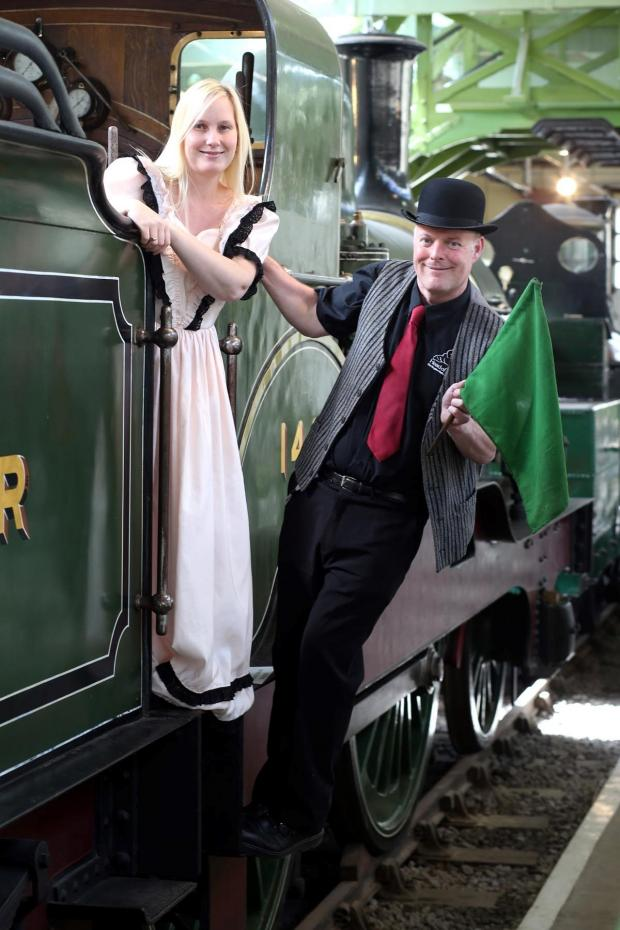 The Advertiser Series: ALL ABOARD: Museum staff Kelly McStravick and Les Hardman dress in period costume to promote the upcoming family fun day at the Head of Steam museum, in Darlington Picture: CHRIS BOOTH
