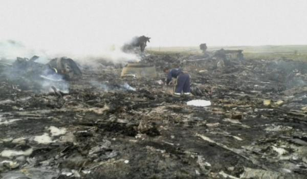 The Advertiser Series: HARROWING SCENE: A worker inspects the crash site of the Malaysia Airlines plane near the village of Hrabove, Ukraine
