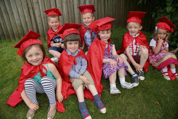 The Advertiser Series: FLYING COLOURS: Graduates at Bowes pre-school back from left Louie Cook and Jack Addison. Front from left Georgia Cullerton, Samuel Webb, Megan Lowe, Elliot Hutchinson and Emily Luck, all four years old.