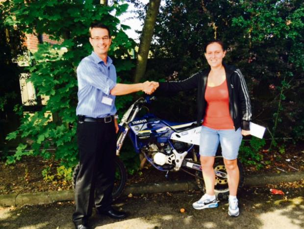 The Advertiser Series: WELL DONE: Kirsty McStravick, right, and Det Con Ian Banham, with her recovered bike