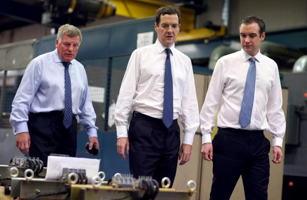 The Advertiser Series: MINISTERIAL VISIT: Chancellor George Osborne MP visits business Carroll-Meynell on Durham Lane Industrial Park near Stockton. Walking around the factory shop floor are Carroll-Meynell MD Mike Meynell, George Osborne MP and James Wharton MP