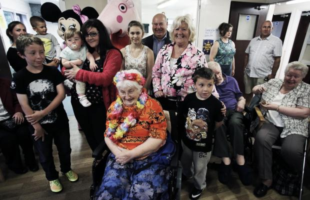 The Advertiser Series: PARTY TIME: Residents with their families, friends and former mayor and mayoress of Darlington, Charles and Carol Johnson at Eastbourne Care Home in Darlington  Picture: