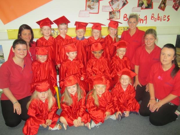 The Advertiser Series: Staff and youngsters at a recent graduation ceremony at House of Eden Nursery in Newton Aycliffe