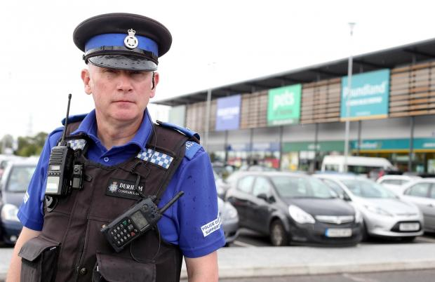 The Advertiser Series: SHOPLIFTERS BEWARE: PCSO Mike Atkinson will be part of the patrols at the Bishop Auckland Retail Park.  Picture: CHRIS BOOTH