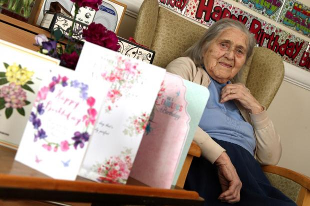 The Advertiser Series: HAPPY BIRTHDAY: Doris Pentland on her 102nd birthday at Barrington Lodge care home in Bishop Auckland. Picture: TOM BANKS