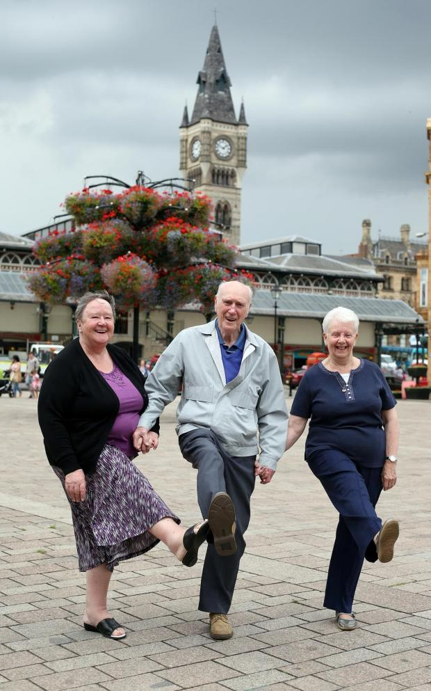 The Advertiser Series: KEEPING IN TIME: Promotion of the annual Growing Older Living in Darlington (GOLD) tea dance which takes places on Wednesday 13th August.  Pictured in Darlington market place are Jean Coltman, George Nicholson, and Ann Able.  Picture: CHRIS BOOTH
