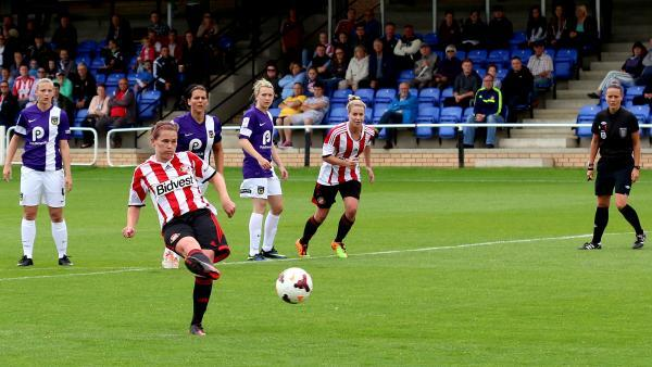The Advertiser Series: ON THE SPOT: Kelly McDougall takes a penalty for Sunderland
