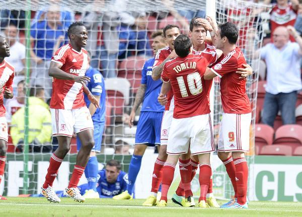 The Advertiser Series: OPENING GOAL: Middlesbrough's players celebrate Daniel Ayala's headed goal against Birmingham