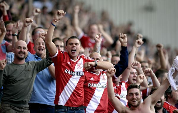 The Advertiser Series: HAPPY DAYS: Middlesbrough fans celebrate their side's 2-0 win over Birmingham City