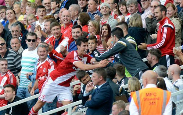 The Advertiser Series: ALL SMILES: Daniel Ayala celebrates his goal on Saturday with Emmanuel Ledesma