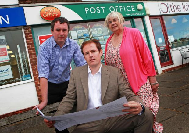 The Advertiser Series: POST OFFICE FUTURE: Newton Hall Post Office, Durham,Councillors' campaign to save Post Office branch from closure Craig Martin PPC, Cllr Mark Wilkes and Cllr Mamie Simmons