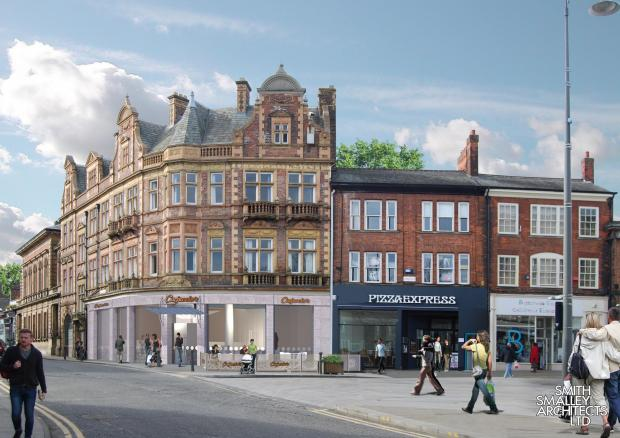 The Advertiser Series: NEW LIFE: An artist's impression of what the former Lloyds Bank building on Skinnergate, Darlington, could look like after being converted into a restaurant