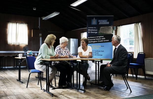 The Advertiser Series: SEEKING DEPOSITS: Volunteers Hilary Reaney and Valerie Smith, coun. Doris Jones and Tony Brockley of Darlington Credit Union at the first meeting of the Middleton St. George Credit Union Picture: STUART BOULTON