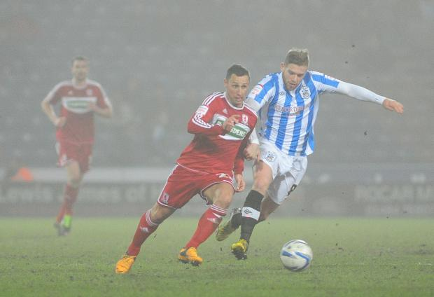 The Advertiser Series: NEW ARRIVAL: Adam Clayton, pictured playing against Middlesbrough for Huddersfield, insists his move to Teesside was never in doubt after signing a four-year contract at the Riverside Stadium