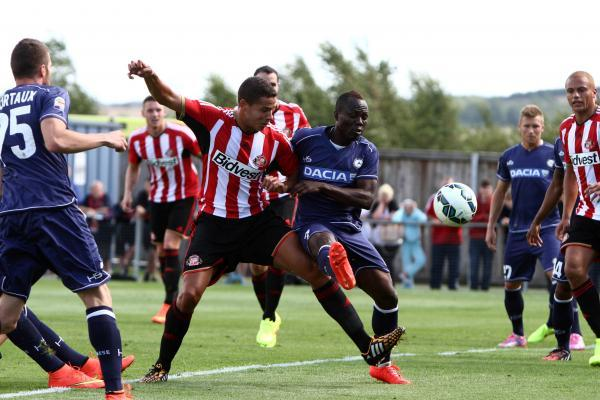 The Advertiser Series: PRE-SEASON FRIENDLY: Sunderland AFC v Udinese Calcio at Heritage Park. Sunderland's Jack Rodwell and Udinese's Agyeman Badu do battle in area.