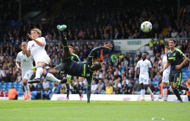 The Advertiser Series: Middlesbrough's Albert Adomah see his acrobatic attempt ruled out during the Sky Bet Championship match at Elland Road, Leeds. PRESS ASSOCIATION Photo. Picture date: Saturday August 16, 2014. See PA story SOCCER Leeds. Photo credit should read: Anna G