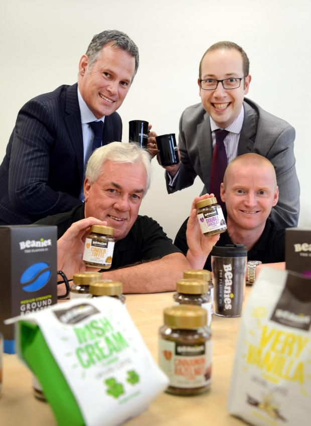 The Advertiser Series: Coffee break: (front, from left) John Evans and Mark Porteous of Beanies with (back, from left) Jonathan Luke of NEL and Ben Williamson of Clive Owen & Co.
