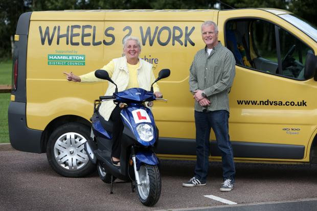 The Advertiser Series: WORKING WHEELS: Cllr Bridget Fortune is pictured with Keith McDonnell from W2W.