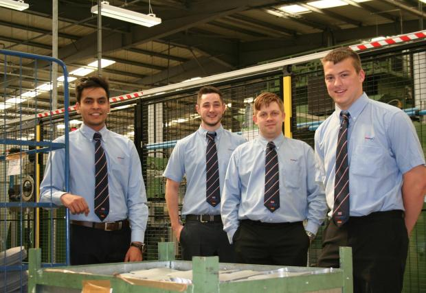 The Advertiser Series: DRIVING AMBITION: (L-R) ElringKlinger (GB) Year in Industry students Rohan Gill, Ben Russell, Daniel Wilson & Connor Jackson.