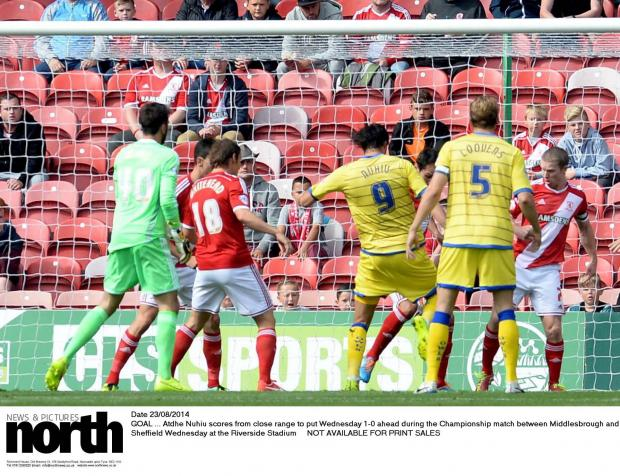 The Advertiser Series: Date 23/08/2014 GOAL ... Atdhe Nuhiu scores from close range to put Wednesday 1-0 ahead during the Championship match between Middlesbrough and Sheffield Wednesday at the Riverside Stadium  NOT AVAILABLE FOR PRINT SALES #NorthNewsAndPictures/2daymedia ***
