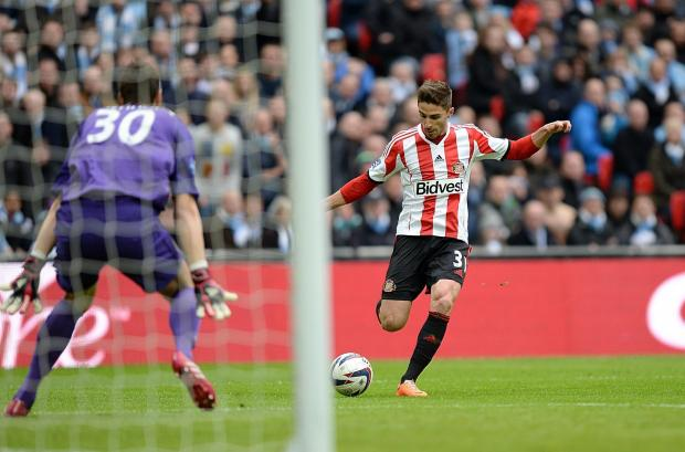 The Advertiser Series: HAPPY MEMORY: Fabio Borini scores Sunderland's opening goal during March's Capital One Cup final against Manchester City