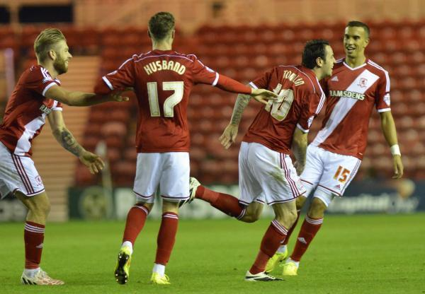 The Advertiser Series: MAN OF THE MATCH: Lee Tomlin wheels away after scoring Middlesbrough's first goal against Preston