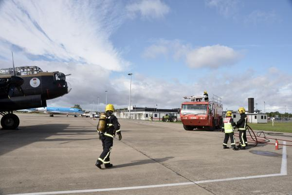 The Advertiser Series: OIL LEAK: The Lancaster on the tarmac at Durham Tees Valley Airport after today's oil leak drama