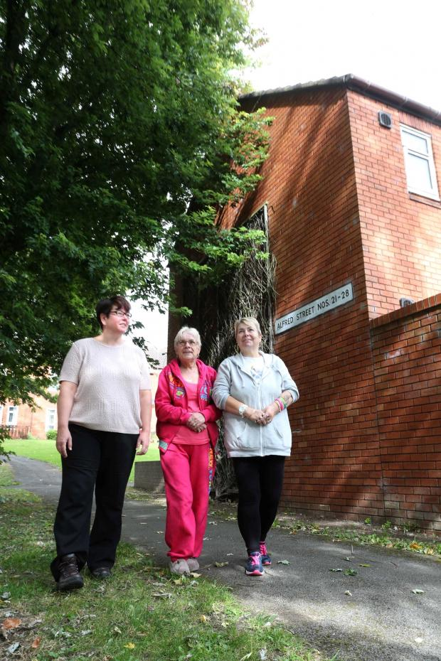 The Advertiser Series: TREE PROBLEM: Residents of Alfred Street in Darlington who are worried about the size of the trees around their houses. From left Cllr Anne-Marie Curry, Maria Burns and Glynis Thompson Picture: ANDY LAMB