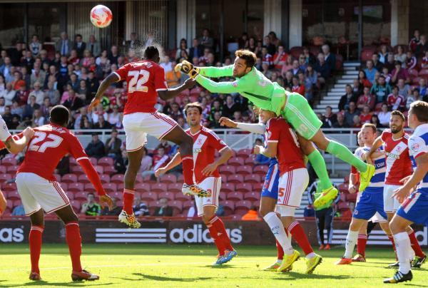 The Advertiser Series: DEFENCE FIRST: Middlesbrough goalkeeper Tomas Mejias clears a corner with help of team-mate Kenneth Omeruo during Saturday's Championship defeat to Reading at the Riverside Stadium