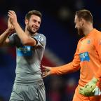 The Advertiser Series: UP FOR THE CUP: Newcastle United's Paul Dummett (left) celebrates at the end of the game with team mate Rob Elliot during the Capital One Cup Third Round match at Selhurst Park on Wednesday