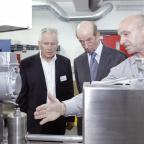 The Advertiser Series: From left to right: Colin Billiet, managing director, nano-porous solutions ltd, HRH Duke of Kent and John Pearson, research and development manager, nano-porous solutions ltd.