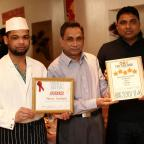 The Advertiser Series: TOP MARKS: The Monsur Tandoori in South Moor has been awarded a 5-star rating in a fast food guide. Pictured are chefs Kobi Ahmed, left and Ashik Ali, right, and owner Ala Miah. Picture: TOM BANKS (19561890)