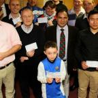 The Advertiser Series: FUNDING: Representatives from local sporting organisations receive their cheques from Richmondshire Local Sports Association Picture: DAVID WOOD